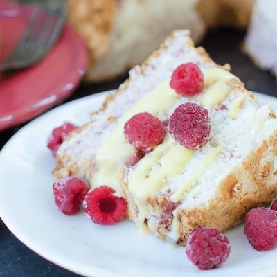 Berry Swirl Angel Food Cake With Meringue Frosting