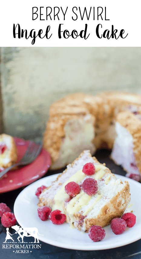 Made with a dozen eggs, Berry Swirl Angel Food Cake is a true farmstead cake! And our favorite way to use up a surplus when the hens lay abundantly in the spring. Also has a recipe for Honey Meringue Frosting
