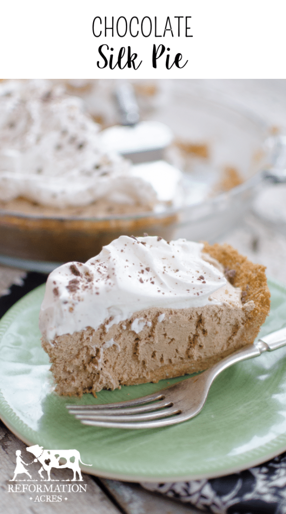 Chocolate Silk Pie (This pie is to die for! It is so rich and creamy and chocolatey! )