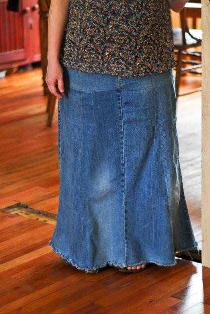 Refashioned Jean Skirts