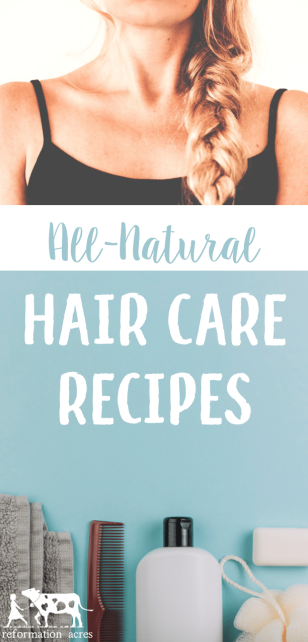 """Keep your hair clean with natural hair care recipes and tips including homemade """"no-poo"""" baking soda DIY shampoo, apple cider vinegar conditioner, and natural citrus hairspray!"""
