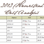 ~2012 Homestead Yields & Cost Analysis~
