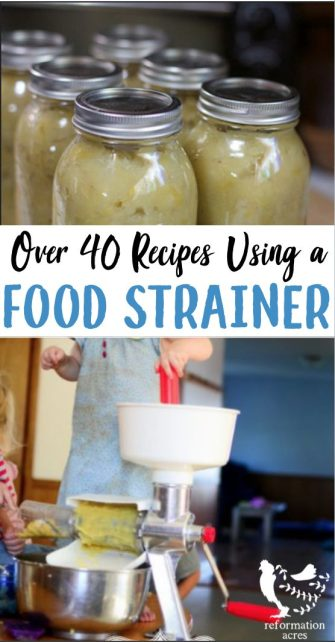 Using a food strainer makes food preservation and canning easy! It's great for applesauce, salsa, and grape juice. Here are 40+ recipes for a food strainer.
