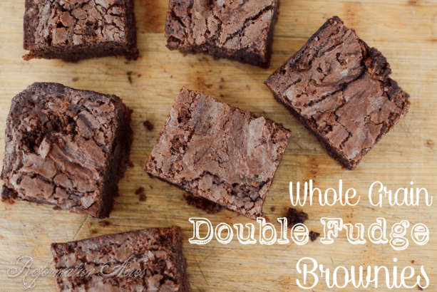 Double Fudge Brownies made with the goodness of whole grains! | www.reformationacres.com