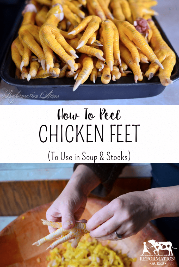 No you don't eat them! Chicken feet add rich flavor, healing nutrients, and gelatin to you soups, stews, and bone broths. It really makes for a delicious stock.