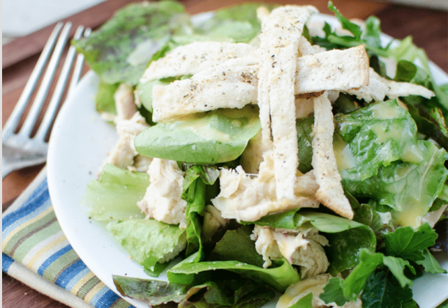 Grilled Chicken Salad with Herbed Tortilla Croutons