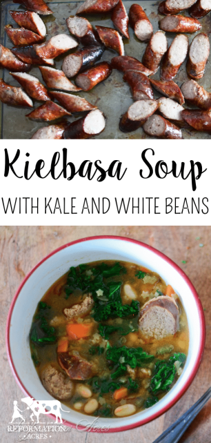 Want to know an amazing way to give your soup a quick flavor burst? Turn it into Kielbasa Soup! It's incredible that in about an hour you can take some Smoked Kielbasa, Kale, White Beans, and a few herbs and vegetables and turn it into so much scratch-made goodness!