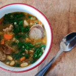 Kielbasa Soup with Kale and White Beans