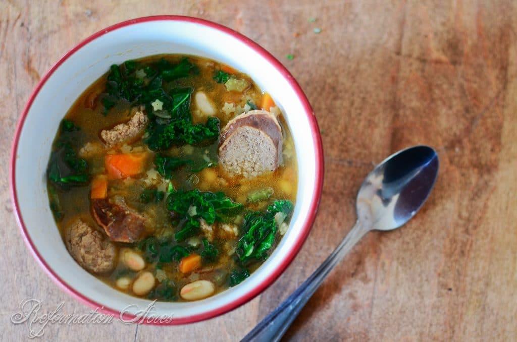 Kielbasa Soup with Kale and White Beans