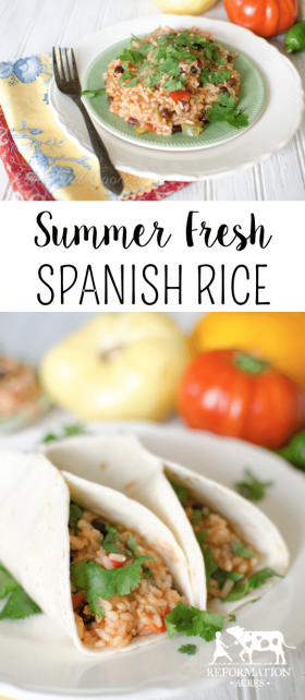 A bright, flavorful, and adaptable take on Spanish Rice using fresh vegetables from the garden or farmers' market. Enjoy it as a side or wrapped in a burrito for your main dish.