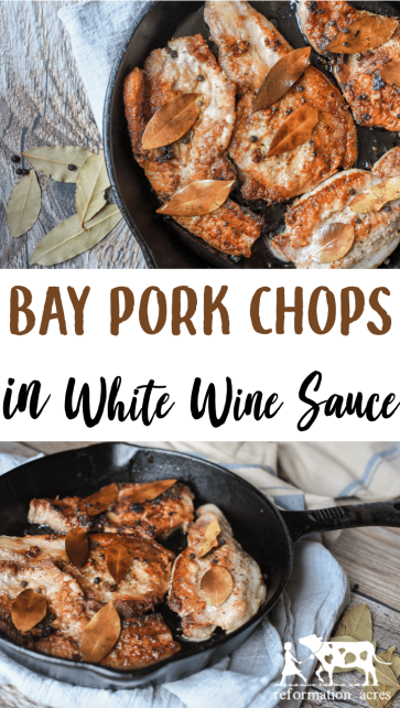 Bay Pork Chops with Peppercorns in White Wine Sauce