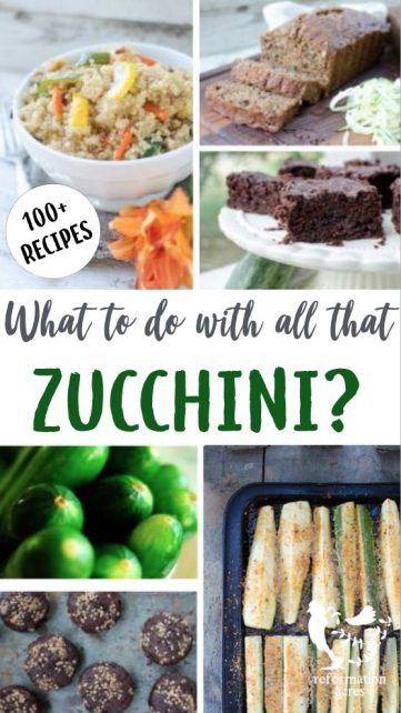 A collection of tested zucchini recipes including main dishes, side dishes, breads, breakfast, desserts, and ways to preserve zucchini.