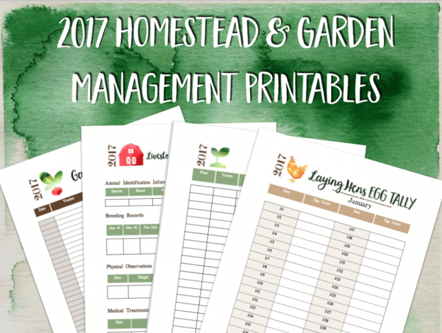 2017 Homestead and Garden Management Printables