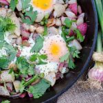 Spring Roots and Garlic Scapes with Fried Eggs