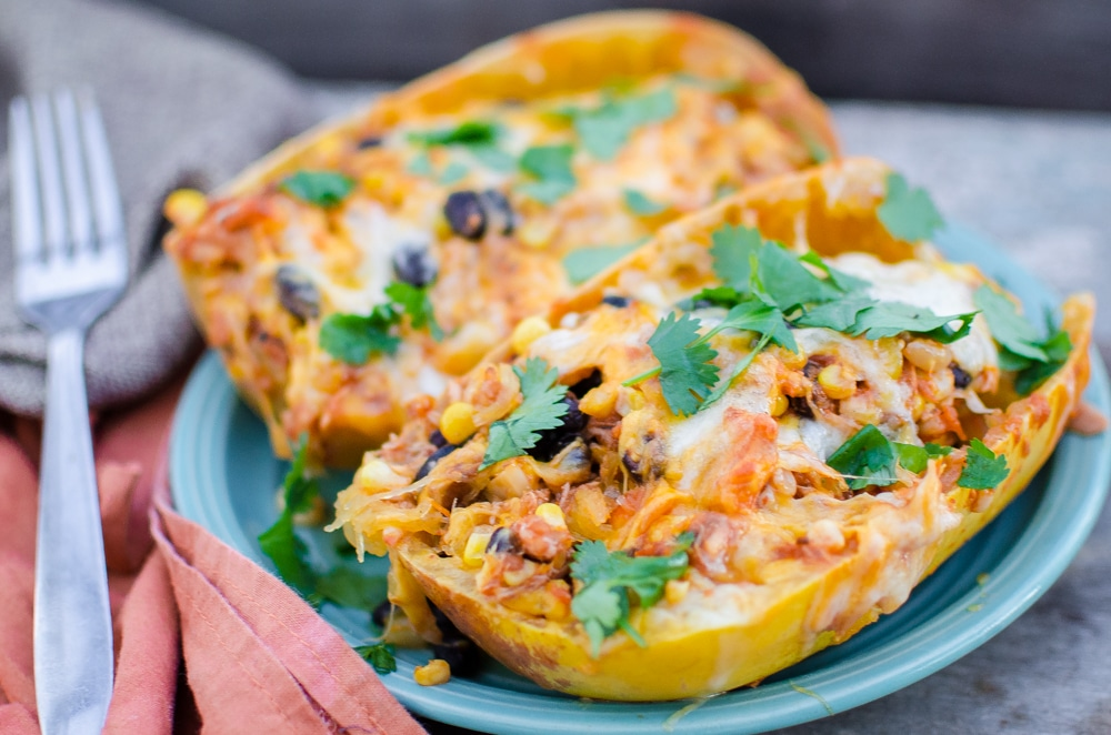 Turkey Enchilada Stuffed Spaghetti Squash