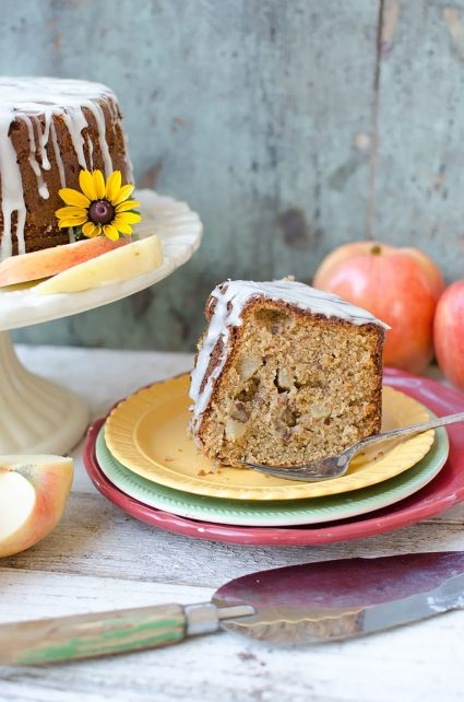 Have your cake & eat it too! This cake is almost healthy! Delicious recipe for Whole Grain Harvest Apple Butter Cake!