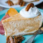Pumpkin Swirl Cheesecake with Ginger Candied Pecans