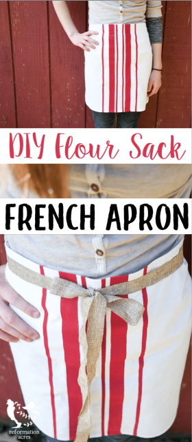 Learn how to make the perfect no-sew DIY French Bistro Apron. Out of a flour sack towel! It's a frugal, functional, and super cute absorbent cafe apron!