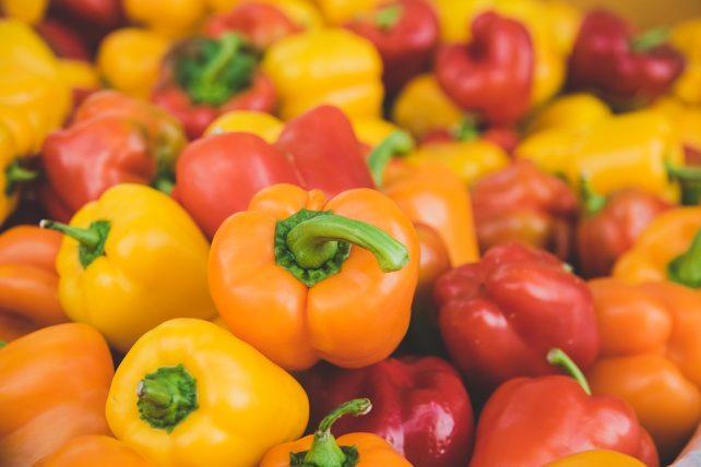 yellow, red, orange pepper