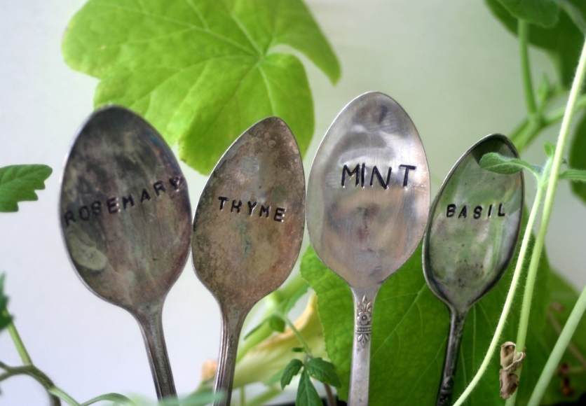 Four Spoons with engraved herb names