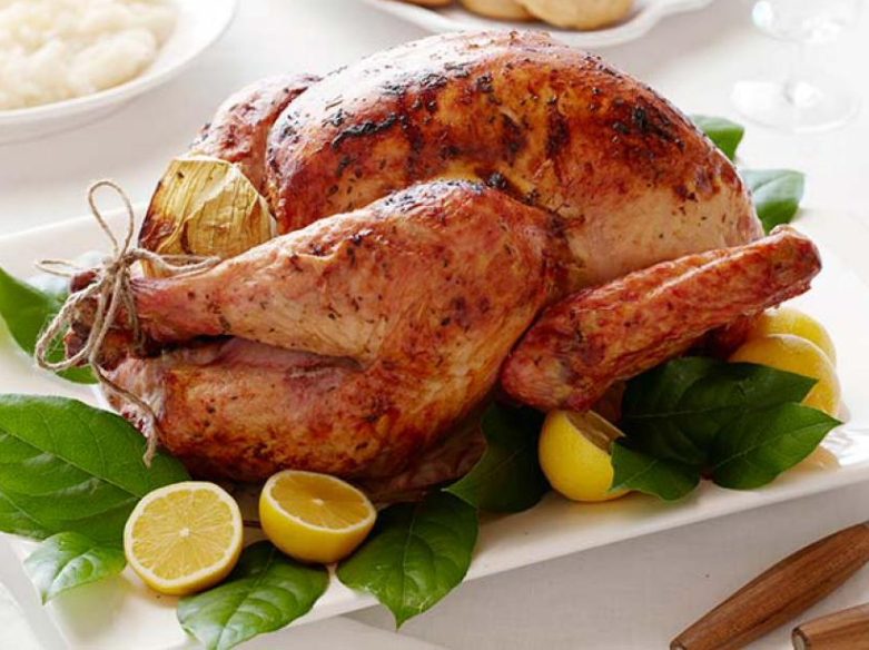 Roasted turkey with lemons