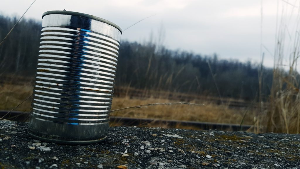 tin can on gravel