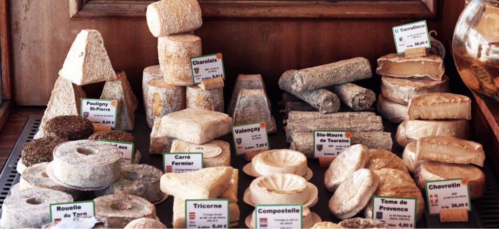Goat cheese like Pouligny St. Pierre, Chevrotin, Rouelle du Tarn, Tome de Provenance,  Sainte-Maure de Touraine