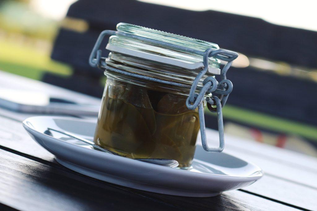 A jar of pickled jalapenos