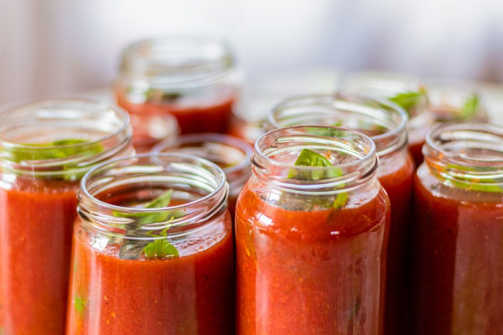 Jars of marinara sauce, which is one of most popular easy canning recipes