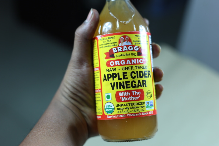 A body of apple cider vinegar with the mother
